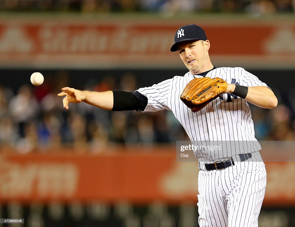 Stephen Drew #14 of the New York Yankees sends a hit by Ryan Flaherty of the Baltimore Orioles to first for the out in the eighth inning on May 8, 2015 at Yankee Stadium in the Bronx borough of New York City.The New York Yankees defeated the Baltimore Orioles 5-4.