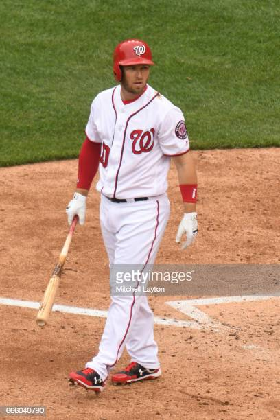 Stephen Drew of the Washington Nationals looks on during the game against the Miami Marlins at Nationals Park on April 3 2017 in Washington DC The...