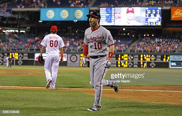 Stephen Drew of the Washington Nationals reacts after hitting a solo home run in the ninth inning during a game against the Philadelphia Phillies at...