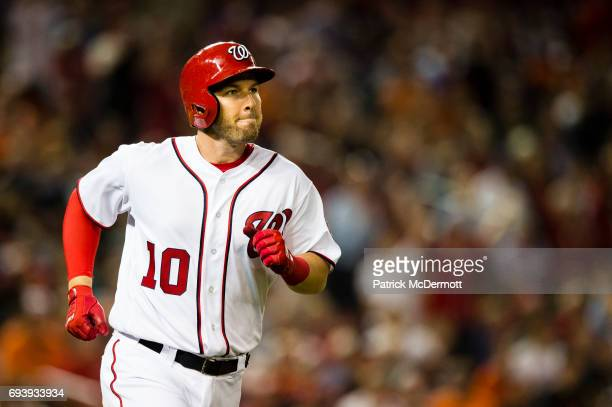 Stephen Drew of the Washington Nationals runs the bases after hitting a solo home run in the fifth inning against the Baltimore Orioles during a game...