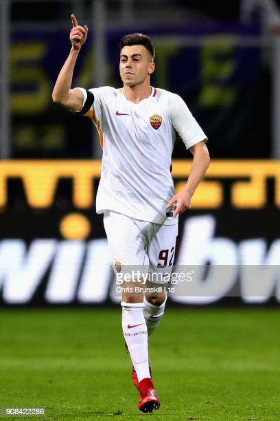 Stephen El Shaarawy of AS Roma celebrates scoring the opening goal during the Serie A match between FC Internazionale and AS Roma at Stadio Giuseppe...