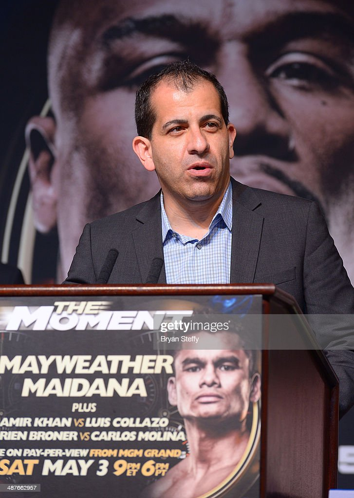 Stephen Espinoza, Showtime Executive VP of Sports, speaks onstage during the undercard final press conference at the MGM Grand Hotel/Casino on May 1, 2014 in Las Vegas, Nevada.
