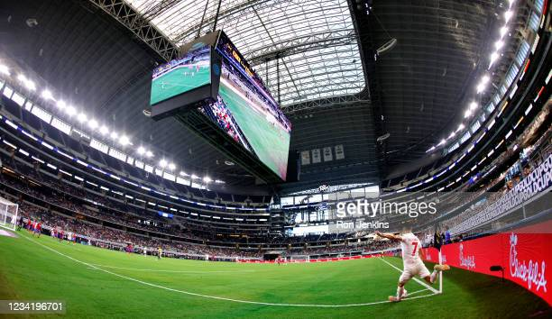Stephen Eustaquio of Canada makes a corner kick against Costa Rica in the second half of a 2021 CONCACAF Gold Cup Quarterfinals match at AT&T Stadium...