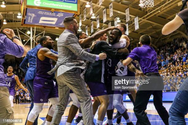 Stephen F Austin Lumberjacks celebrate their win against Duke during the 2nd half of the Duke Blue Devils game versus the Stephen F Austin...