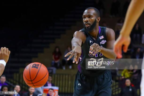 Stephen F Austin Lumberjacks forward Nathan Bain during the first half of the College Basketball game between the Rutgers Scarlet Knights and the...