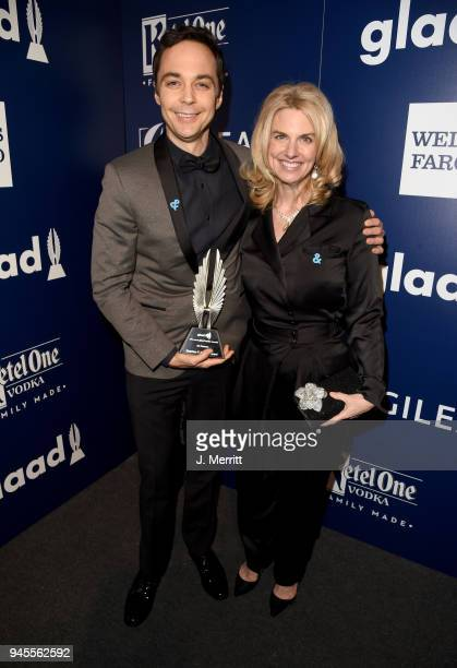 Stephen F Kolzak Award recipient Jim Parsons and President of GLAAD Sarah Kate Ellis pose backstage at the 29th Annual GLAAD Media Awards at The...