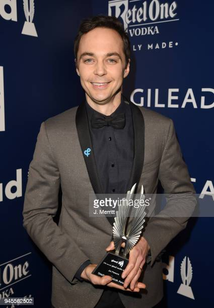 Stephen F Kolzak Award recipient Jim Parsons poses backstage at the 29th Annual GLAAD Media Awards at The Beverly Hilton Hotel on April 12 2018 in...