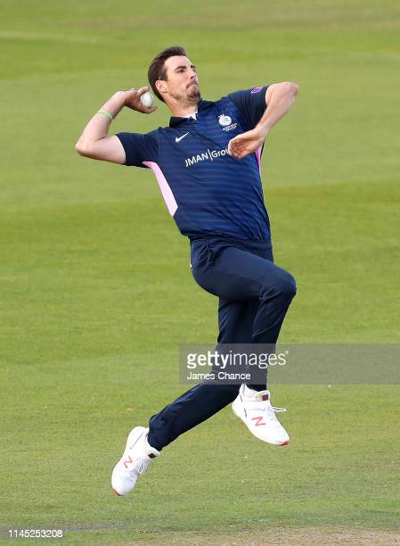 Stephen Finn of Middlesex bowls during the Royal London One Day Cup match between Surrey and Middlesex at The Kia Oval on April 25 2019 in London...