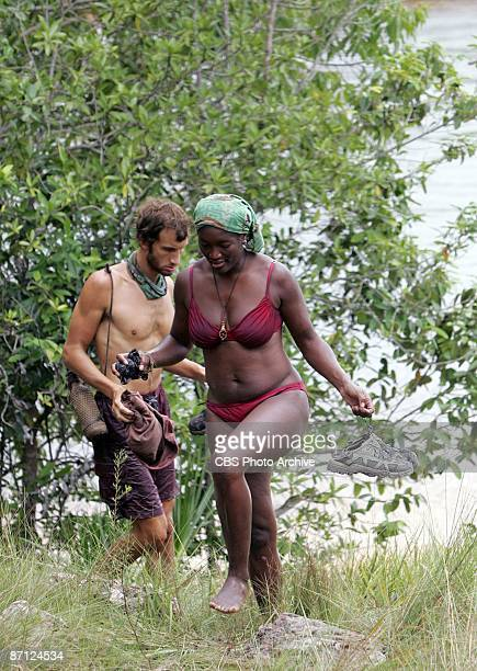 Stephen Fishbach and Taj JohnsonGeorge during the twelfth episode of SURVIVOR TOCANTINS THE BRAZILIAN HIGHLANDS Thursday May 7 on the CBS Television...