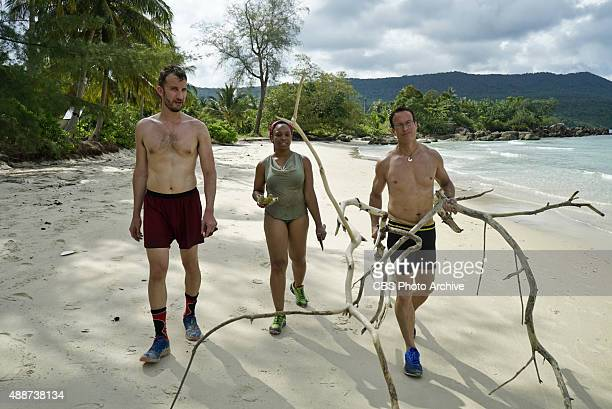 Stephen Fishbach Tasha Fox and Andrew Savage during the special 90minute season premiere of SURVIVOR Wednesday Sept 23 The new season in Cambodia...