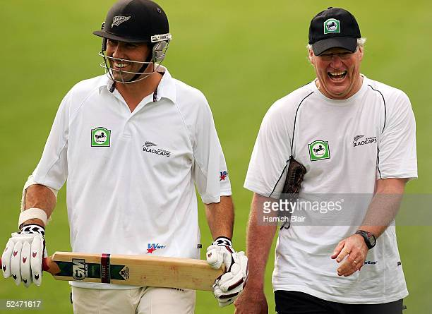 Stephen Fleming and John Bracewell of New Zealand share a joke during training at Eden Park on March 24 2005 in Auckland New Zealand