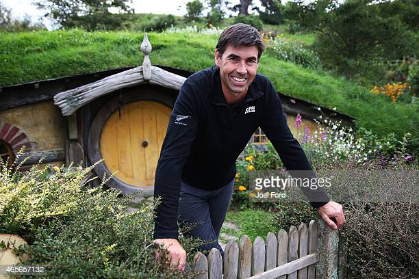 Stephen Fleming at the Hobbiton Movie Set prior to taking part in a backyard cricket match, captained by Kiwi cricket greats Sir Richard Hadlee and...
