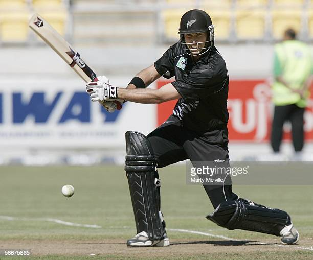 Stephen Fleming captain of the New Zealand Black Caps bats during the first ODI at the Westpac Trust Stadium February 18, 2006 in Wellington, New...