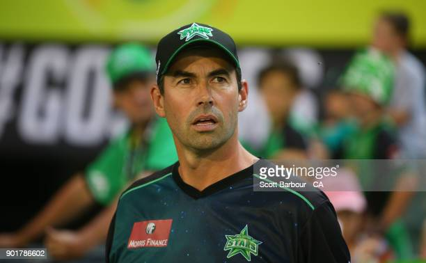 Stephen Fleming, coach of the Stars looks on during the Big Bash League match between the Melbourne Stars and the Melbourne Renegades at Melbourne...