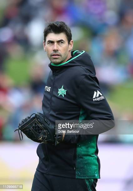 Stephen Fleming, coach of the Stars looks on during the Big Bash League semi final match between the Hobart Hurricanes and the Melbourne Stars at...