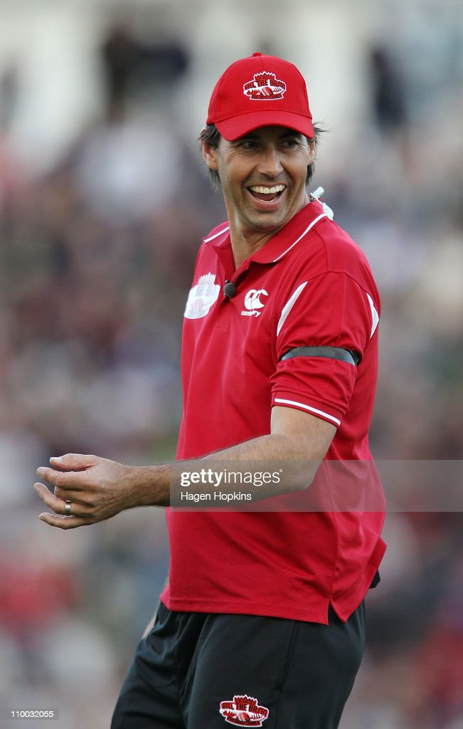 Stephen Fleming enjoys a laugh during the Christchurch Earthquake Relief Charity Twenty20 match at Basin Reserve on March 13, 2011 in Wellington, New Zealand.