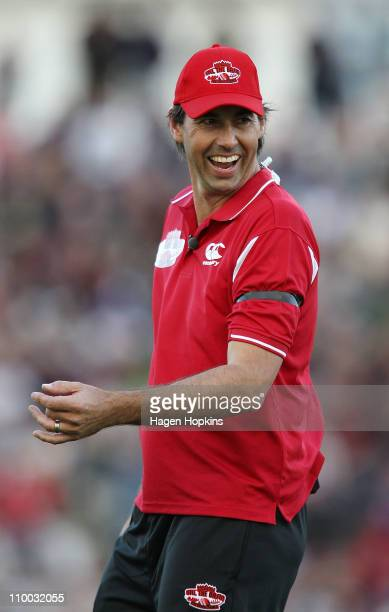 Stephen Fleming enjoys a laugh during the Christchurch Earthquake Relief Charity Twenty20 match at Basin Reserve on March 13, 2011 in Wellington, New...