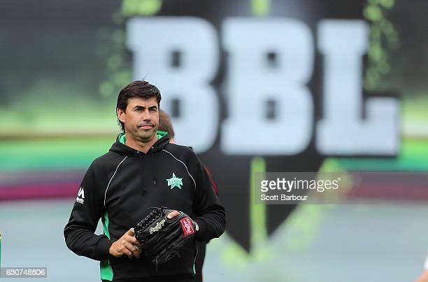 Stephen Fleming, Head Coach of the Stars looks on during the Big Bash League match between the Melbourne Stars and Melbourne Renegades at Melbourne...