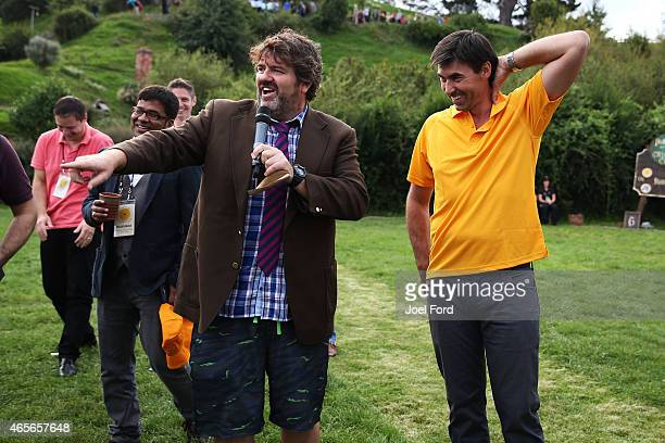 Stephen Fleming is interviewed by James McConie of The Crowd Goes Wild sports TV program during a backyard cricket match captained by Kiwi cricket...