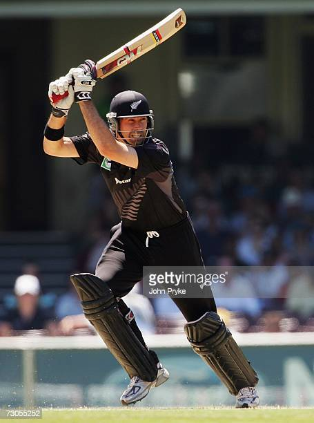 Stephen Fleming of New Zealand bats during game five of the Commonwealth Bank One Day International Series between Australia and New Zealand at the...