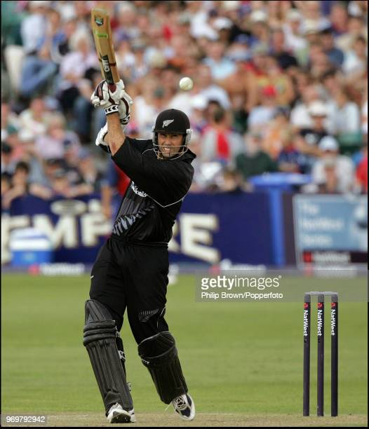 Stephen Fleming of New Zealand hits a boundary during his innings of 99 runs in the NatWest Series One Day International between England and New...