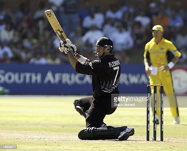 Stephen Fleming of New Zealand hits out during the ICC Cricket World Cup 2003 Super Sixes match between Australia and New Zealand held on March 11,...