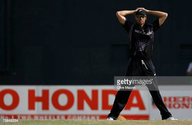 Stephen Fleming of New Zealand looks on during the ICC Cricket World Cup Super Eights match between Ireland and New Zealand at the Guyana National...