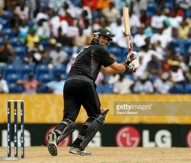 Stephen Fleming of New Zealand plays a shot during the ICC Cricket World Cup 2007 Super Eight match between New Zealand and South Africa at the...