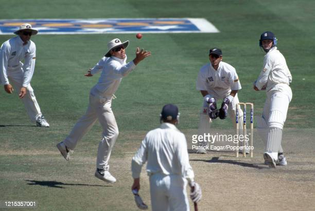 Stephen Fleming of New Zealand reaches for the ball as Dominic Cork of England defends his wicket during the 3rd Test match between New Zealand and...