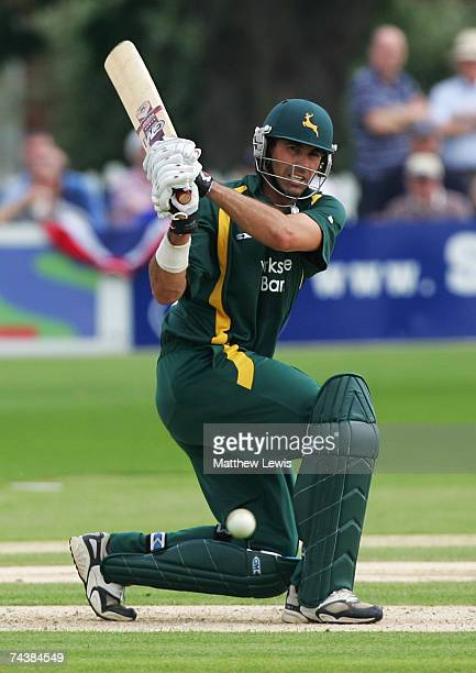 Stephen Fleming of Nottinghamshire edges the ball away for four runs during the Friends Provident Trophy match between Leicestershire and...