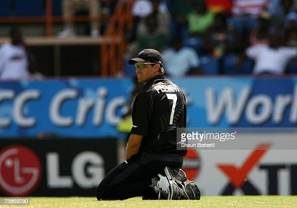 Stephen Fleming the New Zealand captain during the ICC Cricket World Cup 2007 Super Eight match between Sri Lanka and New Zealand at the Grenada...