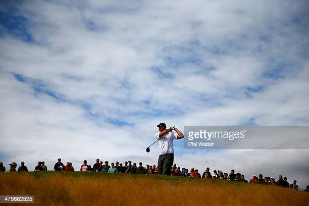Stephen Flemming tees off during round three of the New Zealand Open at The Hills Golf Club on March 1, 2014 in Queenstown, New Zealand.