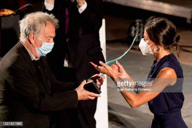 Stephen Frears and Queen Letizia of Spain attend 'Masters Of Cinema award 2020' during the Atlantida Mallorca Film Fest 2021 at Misericordia on...