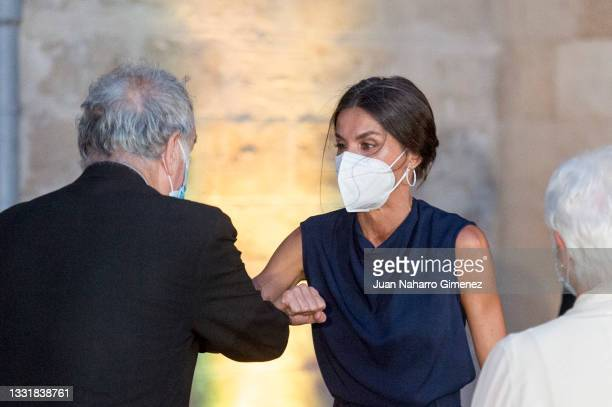 Stephen Frears, Queen Letizia of Spain and Judi Dench attend 'Masters Of Cinema award 2021' during the Atlantida Mallorca Film Fest 2021 at...