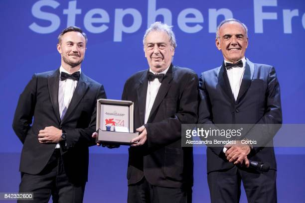 Stephen Frears receives The Jaeger-LeCoultre Glory To The Filmmaker Award and Reverso engraved watched from Chief Marketing Officer of...