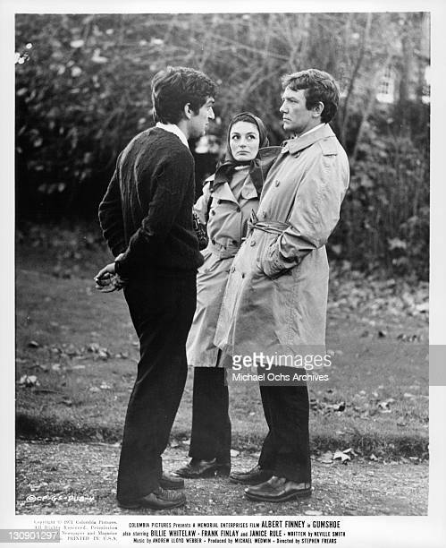 Stephen Frears, the director talks to Albert Finney and his wife Anouk Aimee, who was visiting her husband on the set for the making of the film...