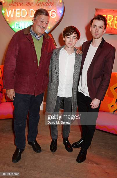 Stephen Fry Alex Lawther and Matthew Beard attend a special screening of 'The Imitation Game' followed by a QA hosted by Stephen Fry at The Ham Yard...