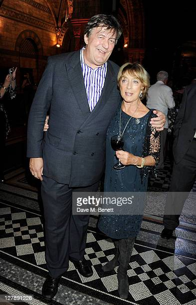 Stephen Fry and Gillian Lynne attend an afterparty following the 25th Anniversary performance of Andrew Lloyd Webber's The Phantom Of The Opera at...