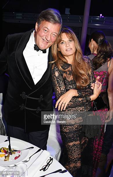 Stephen Fry and Jemima Khan attend the GQ Men Of The Year Awards at The Royal Opera House on September 8 2015 in London England
