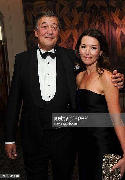 Stephen Fry and Justine Waddell attends a gala evening celebrating Old Russian New Year's Eve in aid of the Gift Of Life Foundation at The Savoy...