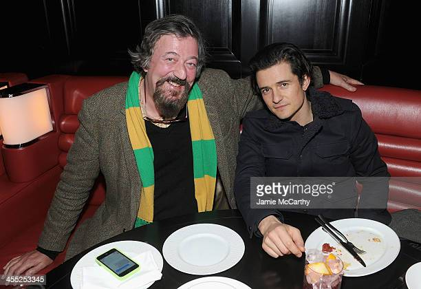 Stephen Fry and Orlando Bloom attend the after party of New Line Cinema and MGM Pictures screening of 'The Hobbit The Desolation Of Smaug' hosted by...