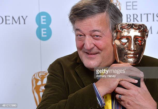 Stephen Fry attends as the nominations for the EE British Academy Film Awards are announced at BAFTA on January 9, 2015 in London, England. The...