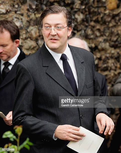 Stephen Fry attends the funeral service held for Sir John Mills on April 27 2005 in Denham