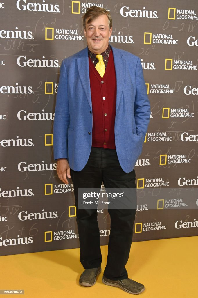 Stephen Fry attends the London Premiere of the National Geographic Channel's 'Genius' at the Cineworld Haymarket on March 30, 2017 in London, United Kingdom.