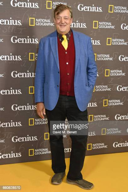 "Stephen Fry attends the London Premiere of the National Geographic Channel's ""Genius"" at the Cineworld Haymarket on March 30, 2017 in London, United..."
