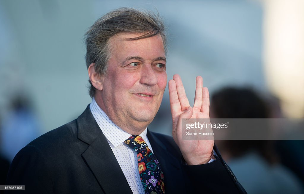 Stephen Fry attends the UK Premiere of 'Star Trek Into Darkness' at The Empire Cinema on May 2, 2013 in London, England.
