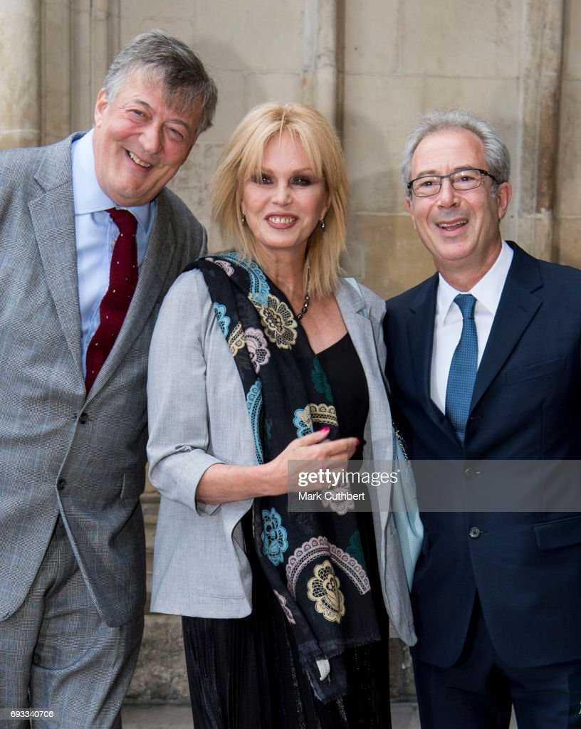 Stephen Fry, Ben Elton and Joanna Lumley attend a memorial service for comedian Ronnie Corbett at Westminster Abbey on June 7, 2017 in London, England. Corbett died in March 2016 at the age of 85.