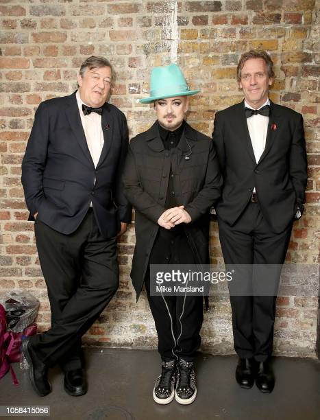 Stephen Fry, Boy George and Hugh Laurie at the SeriousFun London Gala 2018 at The Roundhouse on November 6, 2018 in London, England.