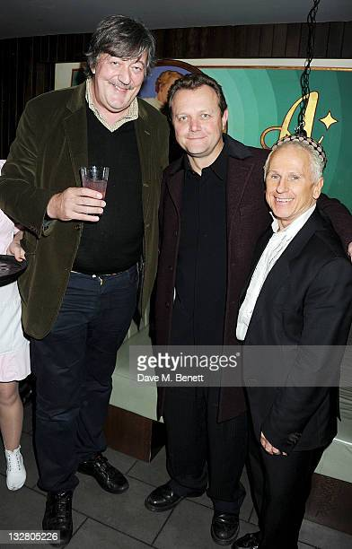 Stephen Fry cocreator of STOMP Luke Cresswell and Wayne Sleep attend a party celebrating the 20th Anniversary of 'STOMP' and to mark the show's 10th...