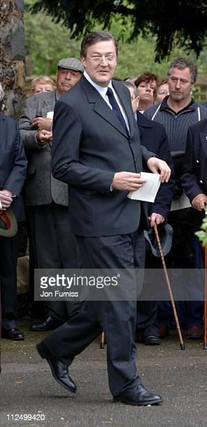 Stephen Fry during Funeral of Actor Sir John Mills April 27 2005 at The Parish Church of Saint Mary the Virgin in Denham Great Britain